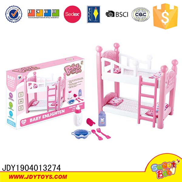 Doll Pink Bunk Beds with Ladder and baby product,doll bunk bed