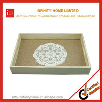 Customized Handmade Art Craft Wood Serving Tray With Lace
