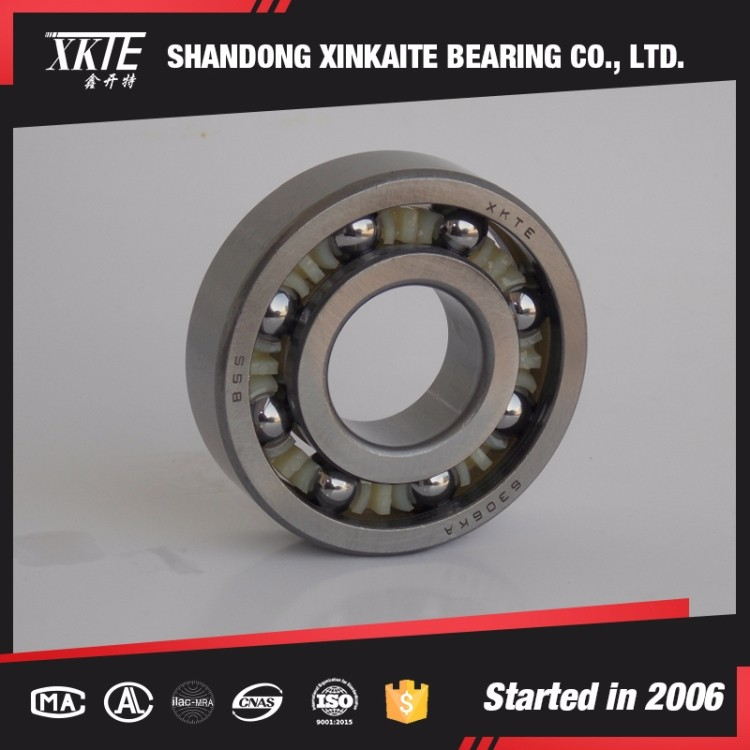 XKTE brand nylon retainer 307TN/C3 deep groove ball bearing for conveyor idler from Shandong bearing manufacturer