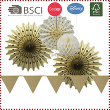 Small Gold Set Paper Bunting/Tissue Paper Honeycombs/Paper Fans Paper Crafts Birthday Wedding Party Anniversary Shower