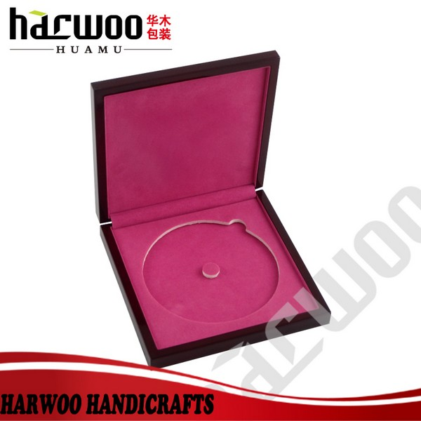 High-end wooden CD packaging box with EVA lining