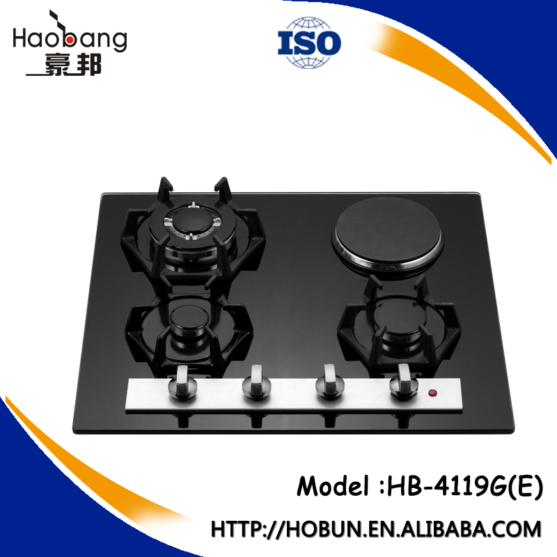 Tempered glass built-in 4 burners cooking gas stove/hob cast iron Cooktops