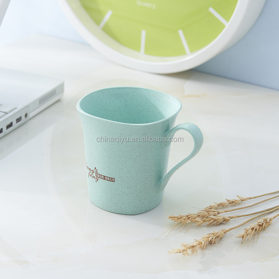 daily use colorful natural unbreakable wheat straw tableware mug cup