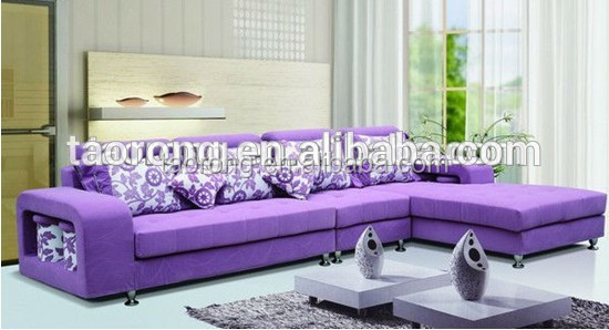 purple color L shape corner sofa design furniture