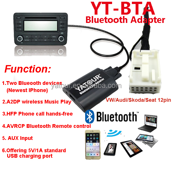 2015 Yatour Bluetooth Digital MP3//USB Hands free car radio adapter/kit for VW/Skoda/AUDI/Seat>AVRCP BT control/Recharge