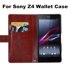 New Luxury Top Quality Leather Vintage Wallet Stand Case Cover With Card Slot Holder For Sony Xperia Z4 Mobile Phone Bag