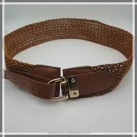 New fashion wide braided belt with real wood for dress