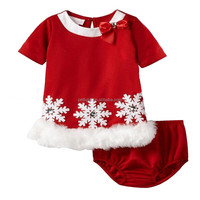 New Red Christmas Kids Girls Clothing Sets Snow Bow Girls Fashion Suits For Kids Children Autumn Outwear Clothes