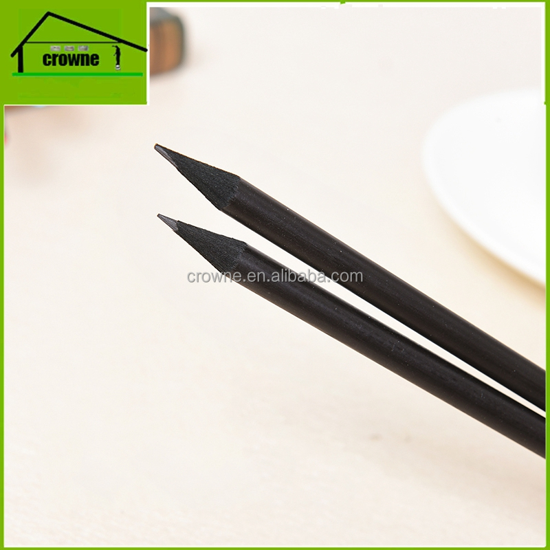 custom brand advertising promotional logo printed black wood pencil with eraser topper