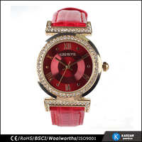 high quality water resistant genuine leather strap woman red geneva quartz watch