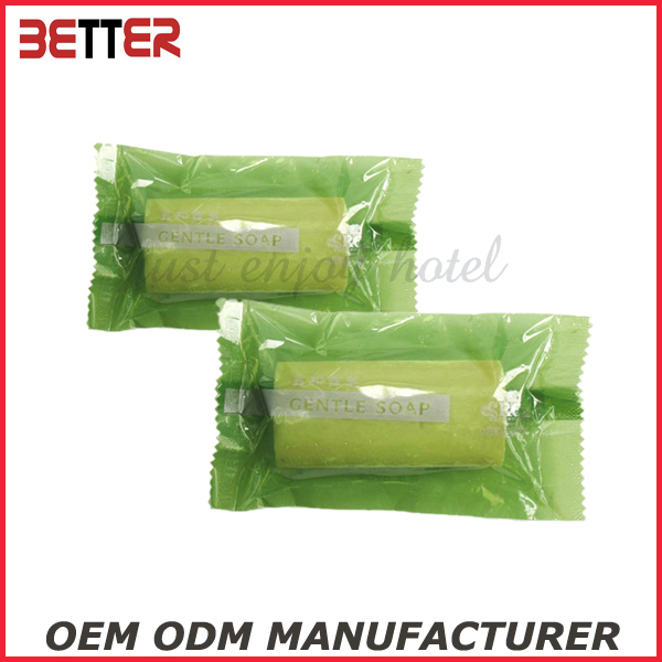 best green custom bar soap in plastic sachet