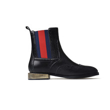 Chengdu OEM Factory Cow Leather Motorcycle ankle combat Booties Women Chelsea boots with brouge