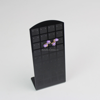 Black Acrylic Pierced Earring Holder, Earring Display Cards