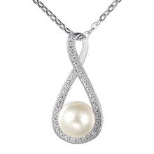 charm designs zircon chain freshwater pearl pendant necklace