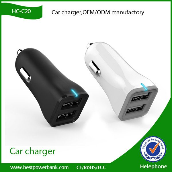 HC-C20 New 12v dual usb 2.4A car battery charge with smart IC PCBA car charger