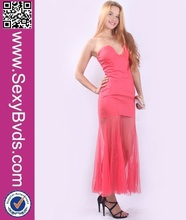 2015 Fashion Sexy Strapless Pink Evening Dress