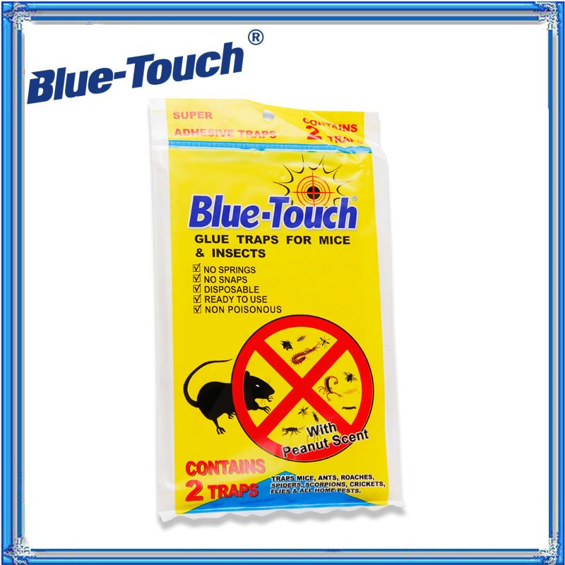 Blue-Touch Heavy Duty Baited Rat Glue Traps. Non-toxic, Ready to Use, 2 Traps