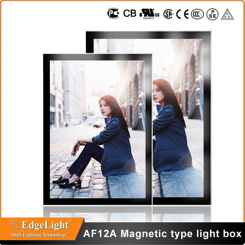 Edgelight AF9A aluminum frame double sided custom slim magnetic <strong>led</strong> <strong>light</strong> <strong>box</strong>
