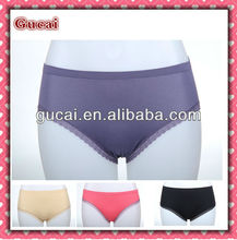 Solid Color Seamless Women Nylon Full Brief Girls Wearing Panty