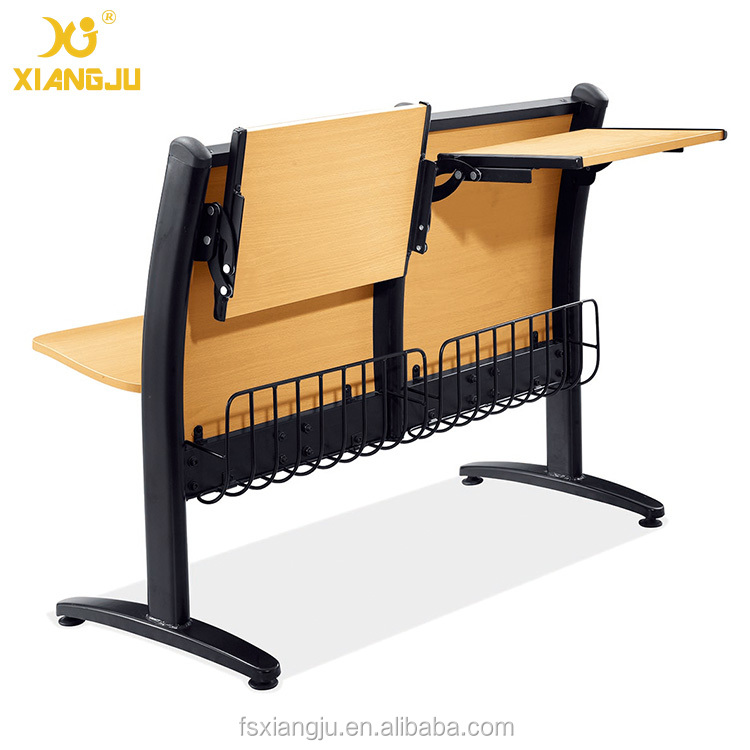 XJ-K10B free fixed movable college furniture wooden student table and bench