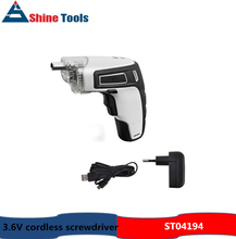 3.6V electric cordless screwdriver with LED light and USB charger