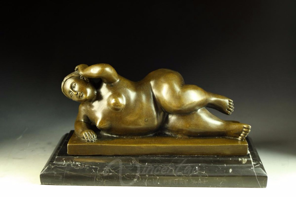 Best selling premium metal crafts bronze lying fat woman art sculpture for decorations for home