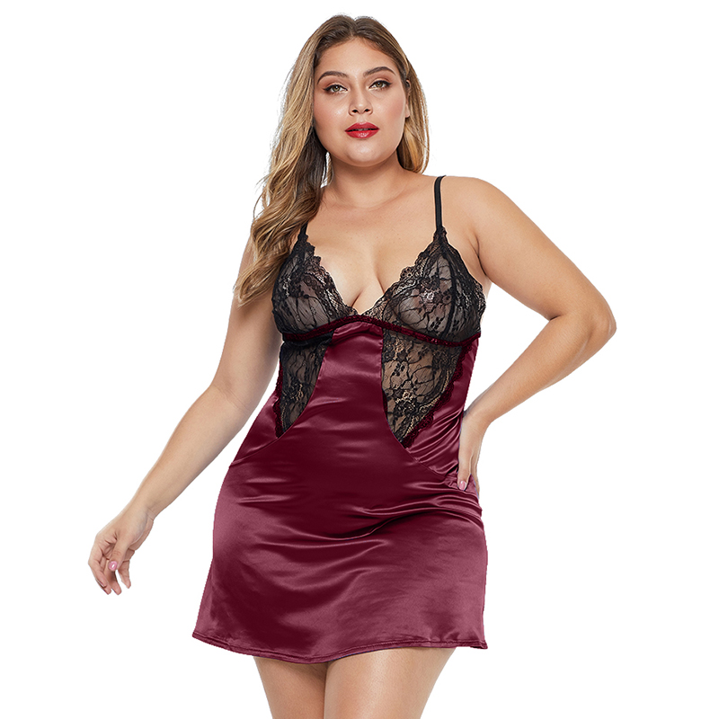 Sexy Women Coloblock Lace Cup Hollow-out Plus Size Babydoll Lingerie
