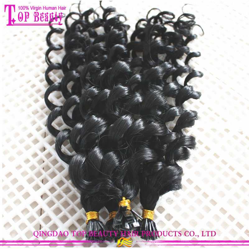 New fashion best quality 100% malaysian human hair cold spiral curly hair i tip fusion hair extension