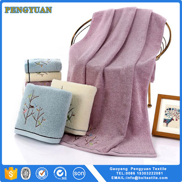 yarn dyed bath towel with patch embroidery leaves small soft bath towel