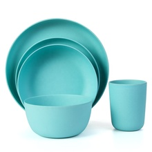 Lekoch Blue Bamboo Dinnerware Set Dinner Salad <strong>Plate</strong> 5PCS