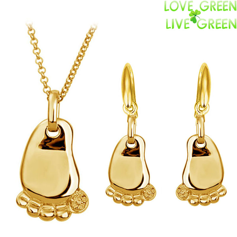 fashion new baby children birthday gifts 18K white yellow gold foot feet pendant Necklace Earrings jewelry sets 80119