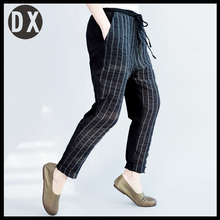 Spring summer fashion women's clothing cotton and linen stripe splicing knitted elastic waist women's casual pants