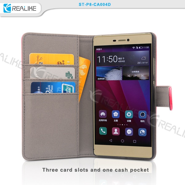 Free sample mobile phone accessories wallet style leather case mobile phone p8 cell phone case