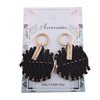 Gold Plating Alloy Hoop Earrings Wrapped Black PU Leather Earrings Wholesale