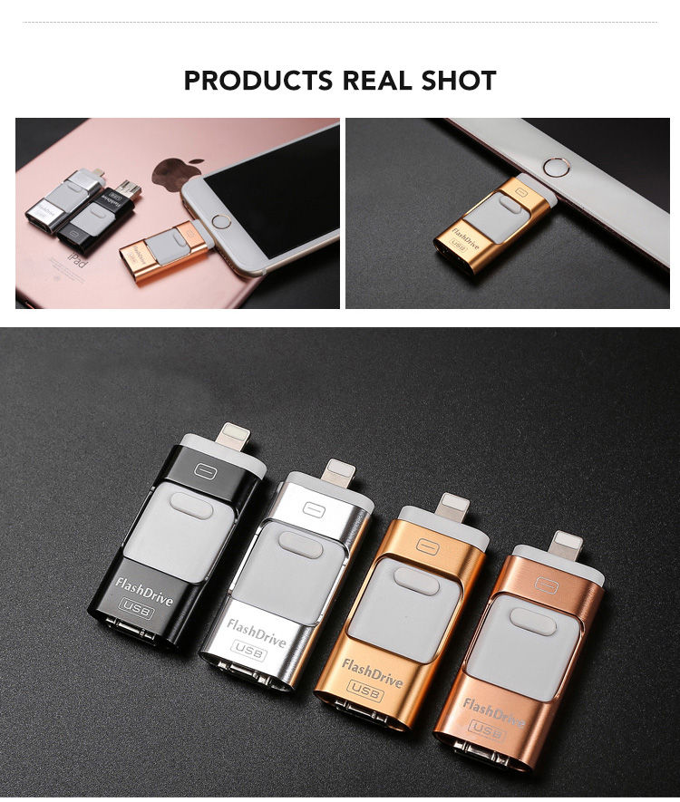 Ekinge High Speed 3 in 1 OTG 4GB/8GB/16GB/32GB/64GB/128GB USB Flash Drive for iPhone Huawei Android Smart Mobile Phone
