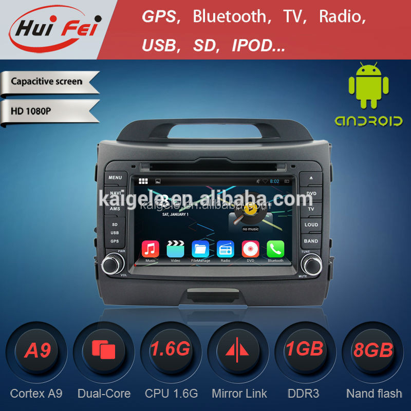 2015 HuiFei Android 4.4.4 OS DVD Radio For Car For Kia Sportage With Reversing Camera 3G WIFI