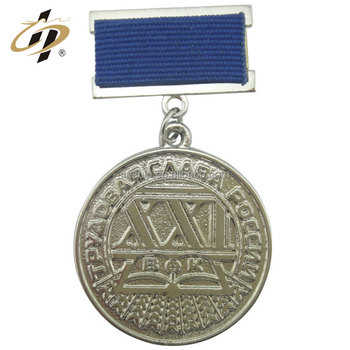 Supply custom-made metal badge medal engraved medallion with ribbon