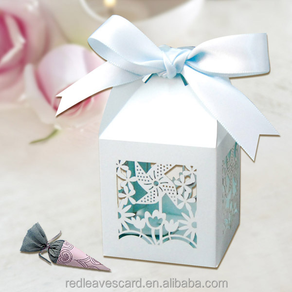 Yiwu Wholesale Wholesale Wedding Favor Boxes With Ribbon In Blue