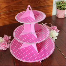 Popular Pink Polkadots 3 Tier Cupcake Stand For Sale