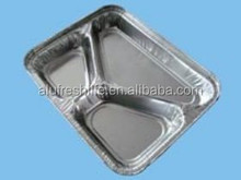 Three-compartment food use aluminum foil container