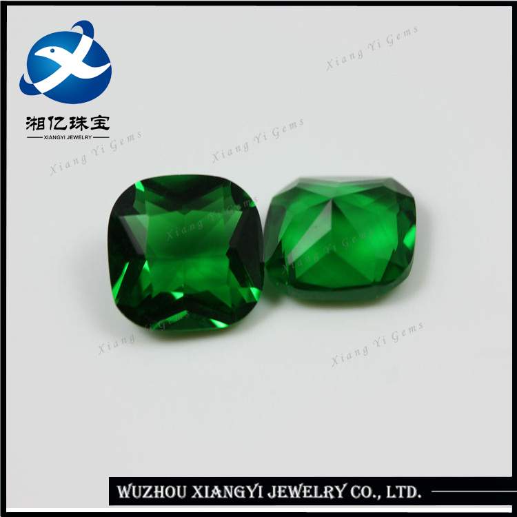 Beautiful Fakes Gems for Clothes 8x8 Green Square Shape Glass Rough Gems