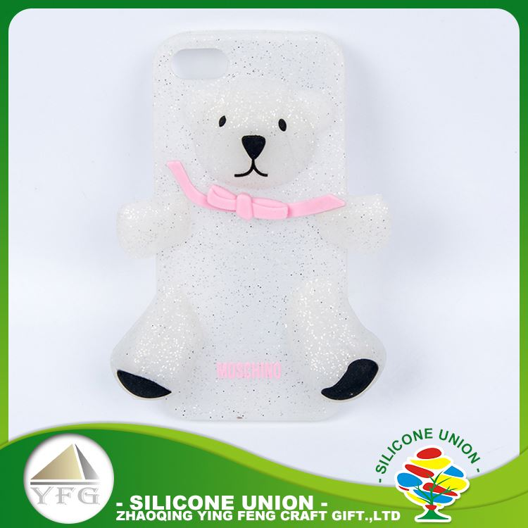 Cheap white bear logo silicone waterproof mobile phone case