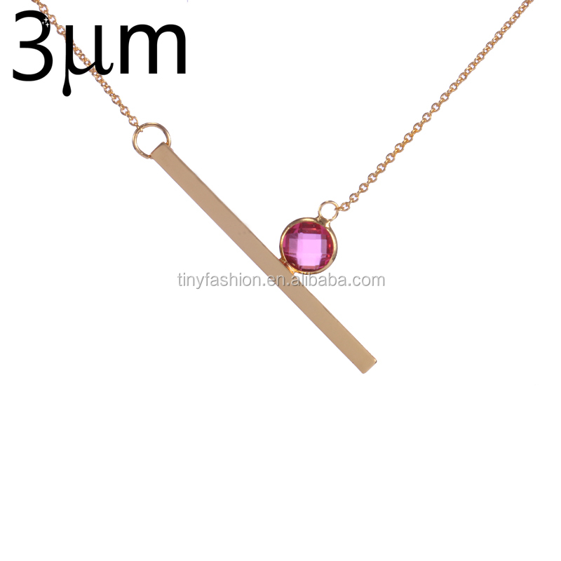 3UMeter Long Bar Necklace Custom Personalized Birthstone Solid Bar Y Chain Necklace for ETSY Women Mother Jewelry Birthday Gift