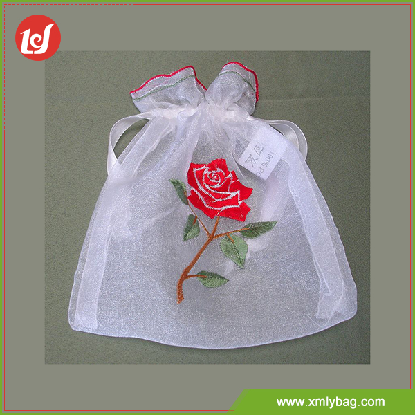 Beauty cheap printing rose embroidery organza drawstrig bag for candy gift jewelry
