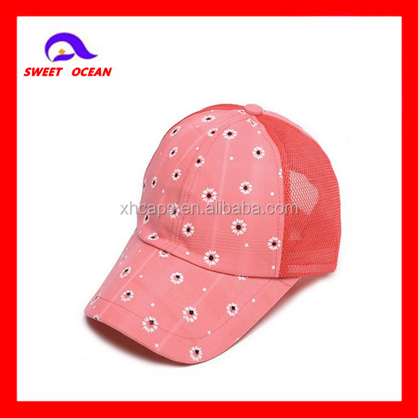Cheap price embroidery flower trucker curved brim sports cap