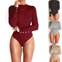 CAZC2179 2019 trend women clothing women blank winter turtleneck knitted tight stretch bodysuit fall slim body shape jumpsuit