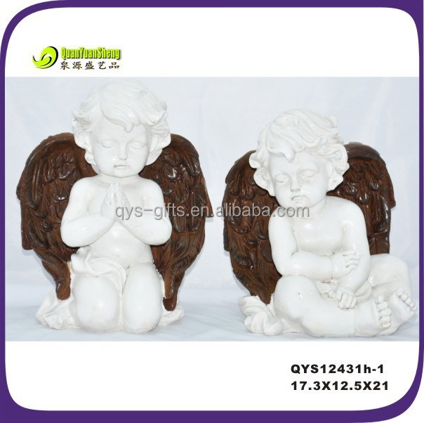 Fake brass baby angel figurines wholesale made by polyresin