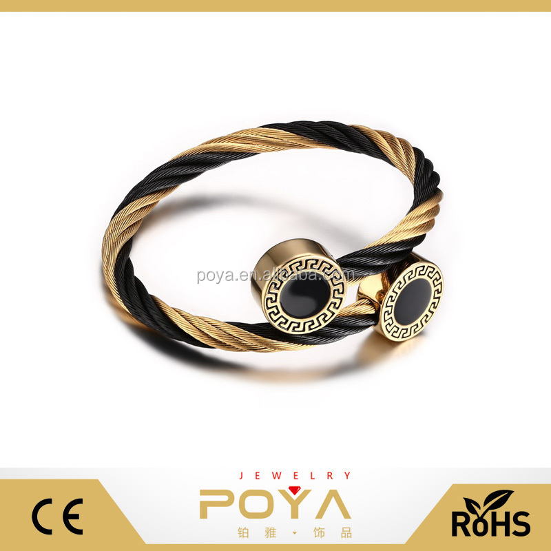 POYA Jewelry Retro Korean Rope Bangle Bracelet,Greek Bracelet Bangle jewelry, Ladies Two Tone Steel Bracelet Bangle