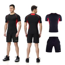 Sport Track Suit Dry-Fit Moisture Wicking Active Athletic Wear Short Sleeve Compression Top T Shirt and Shorts Gym Set for <strong>Men</strong>
