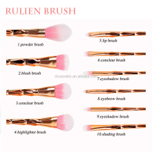 Fashion handle with diamond brushes custom label pink hair makeup brushes